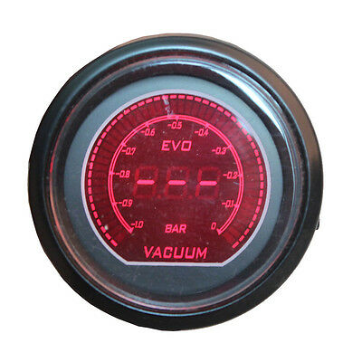 "Universal 2"" 52mm Blue Red Turbo Vacuum Car Digital LED Light Gauge Meter"
