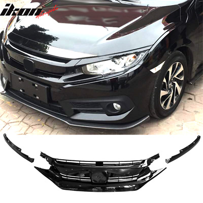 Fits 16-18 Civic 10th Gen OE Gloss Black Front Grille Hood Mesh Eye Lid ABS