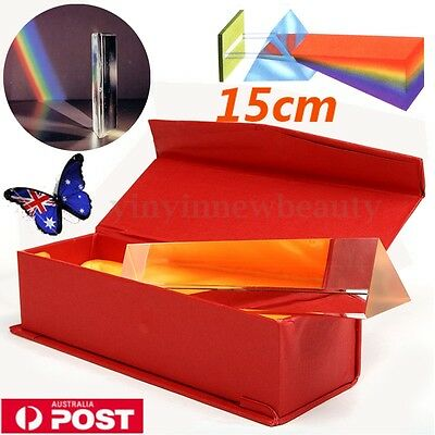 15cm Optical Glass Triple Triangular Prism Physics Teaching Light Spectrum