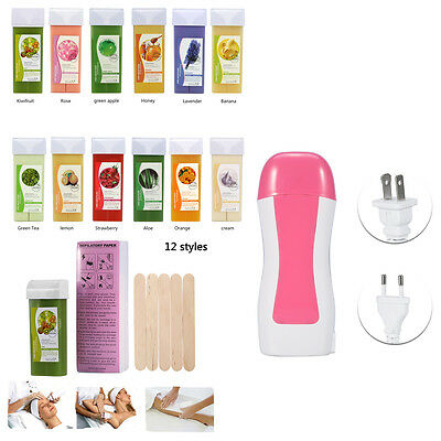 Roll on Depilatory Wax Heater Cartridge Warmer Waxing Hair Removal Machine Set E