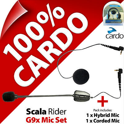 Cardo Scala Rider Hybrid Boom + Corded Microphone Mic (2 Pack) for G9x Intercom