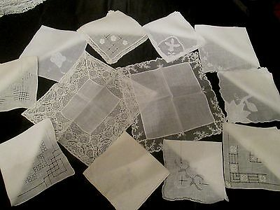 Lot of 12 Vintage White Wedding Embroidered  hankies finer quality madeira's