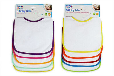 First Steps Pack of 5 Bib Set Feeding Mealtime Baby Multi Coloured