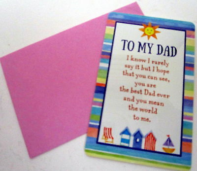 "Heartwarmer Keepsake Message Card ""to My Dad"" Inspirational Verse For Birthday"