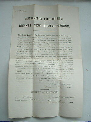 Ww1 1916 Certificate Of Right Of Burial Dunnet