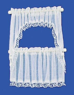 Dolls House White Sheer Cape Curtain Set Miniature Scale Window Accessory