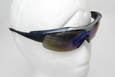 IZE Sport Golf Impact Resist Polycarbonate Sunglasses Wrap Style Blue Silver New