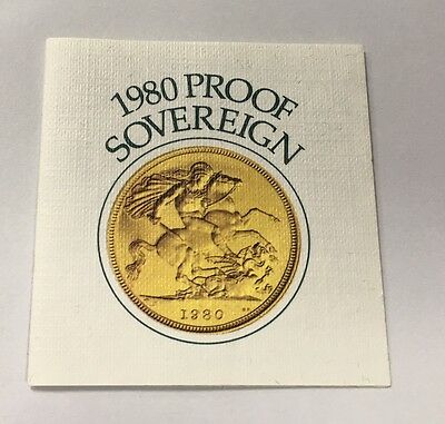 1980 Proof Gold Sovereign Coin Certificate Only Royal Mint