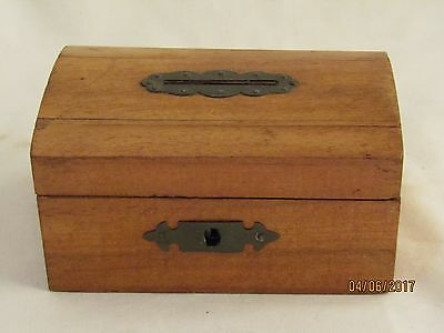 Antique Wood Money Box Coin Bank With Key Woodware