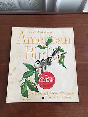 Vintage 1959 Coca Cola Calendar of American Birds in Color