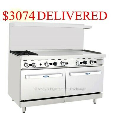 "60"" inch (5 foot) Gas Range 2 burners with 48"" Griddle on the right & two ovens"