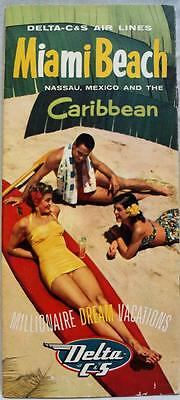 Delta - C&s Airlines Miami & Caribbean Travel Advertising Brochure 1955 Vintage