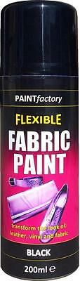 x3 Black Fabric Spray Paint Leather Vinyl & Much More, Flexible 200ml 5 Colours