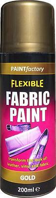 x2 Gold Fabric Spray Paint Leather Vinyl & Much More, Flexible 200ml 5 Colours