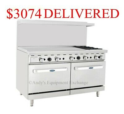 "60"" inch (5 foot) Gas Range 2 burners with 48"" Griddle on the left & two ovens"