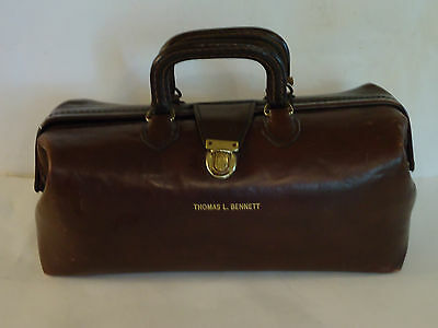 Vintage CH ELLIS Top Grain Cowhide Leather DOCTOR Medical Carrying Handbag Brown