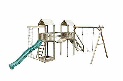 Arundel Twin Wooden Climbing Frame Tower Slide Swing Commando Net Sandpit