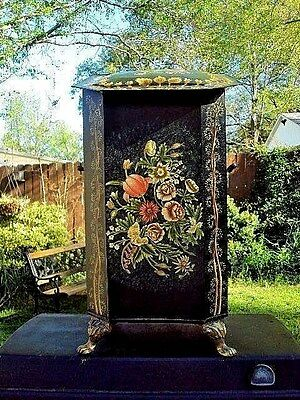 "Antique Tole Ware Tin Fireplace Coal Scuttle Victorian Box ""Bouquet of Flowers"""