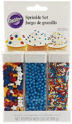 Wilton Primary Sprinkle Set - Stars Pearls & Jimmies - Cupcake Cookie Decoration
