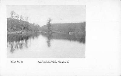 White Plains New York Reservoir Lake Waterfront Antique Postcard K61971