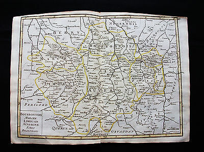 1748 LE ROUGE - rare map: FRANCE, LIMOUSIN, LIMOGES, AUVERGNE, CLERMONT-FERRAND