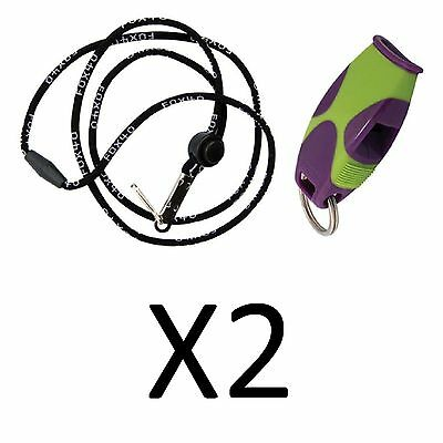 Tide Rider Fox 40 Sharx Whistle w/ Lanyard Rescue Safety, Purple/Green (2-Pack)