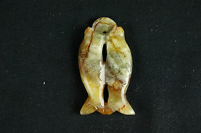 """Nice carved stone / jade vintage fish shaped Chinese figurine 2"""" [Y8-W6-A8-E8]"""