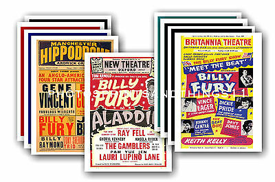 Billy Fury  - 10 promotional posters - collectable postcard set # 1