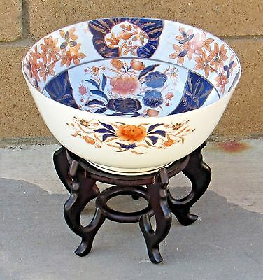 """Antique 19th Cent Japanese Imari Porcelain 12"""" x 5 3/4"""" Footed Deep Bowl w/stand"""