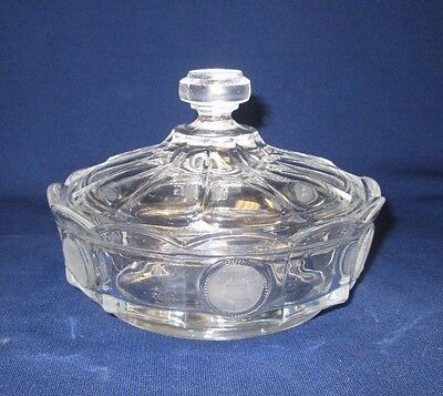 """Fostoria Crystal Coin Glass Covered Candy Dish 4 1/4"""" Tall"""