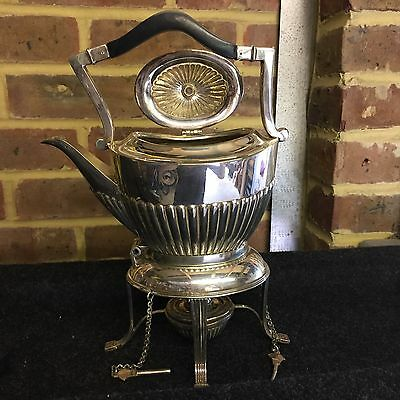 Silver Plated Hallmarked Kettle Teapot On Stand. Antique