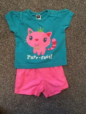 Baby Girls M&Co Shorts And TShirt Set Outfit 0-3 Months Pink