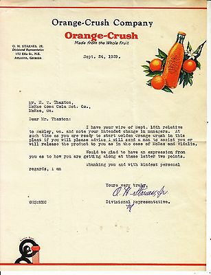 Orange-Crush Company Atlanta  Letterhead  Sept. 24, 1929
