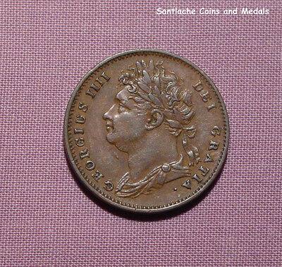 1825 KING GEORGE IV COPPER FARTHING - Nice Grade Coin