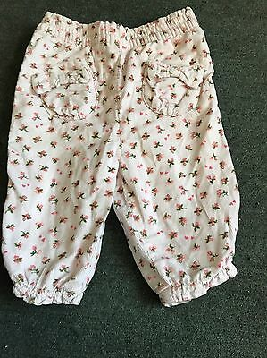 Next 3/6 Months Condroy Light Pink Floral Girls Trousers