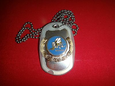 US Navy Construction Team SEEBEES Stainless Steel Dog Tag + Ball Chain