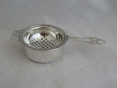 Vintage English Sterling Tea Strainer & Under Tray