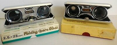 Two Folding Opera/sport 2.5 X 25 Glasses By Focal And Empire With Original Boxes