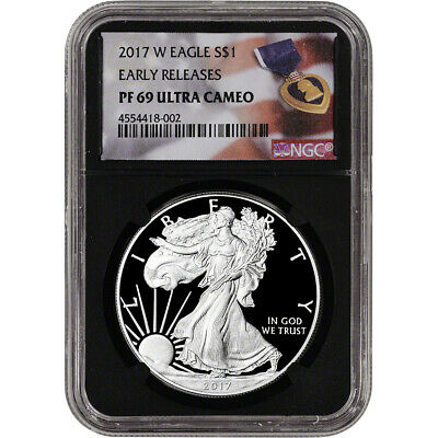 2017-W American Silver Eagle Proof - NGC PF69 UCAM - Early Releases Purple Black