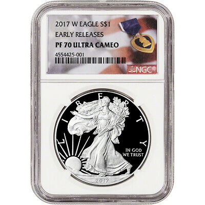 2017-W American Silver Eagle Proof - NGC PF70 UCAM - Early Releases Purple Heart