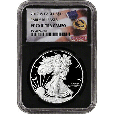 2017-W American Silver Eagle Proof - NGC PF70 UCAM - Early Releases Purple Black