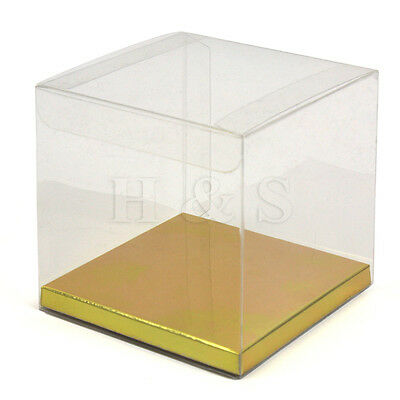 10x10x10cm Transparent PVC Cube Chocolate Sweets Cake Wedding Favour Gift Boxes