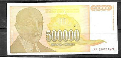 YUGOSLAVIA #143a 1994 VF USED 500000 DINARA BANKNOTE PAPER MONEY CURRENCY NOTE