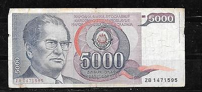 YUGOSLAVIA #93a 1985 VG USED 5000 DINARA BANKNOTE PAPER MONEY CURRENCY NOTE BILL
