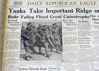 2 1943 WW II newspapers British DAM BUSTERS flood RUHR VALLEY with BOUNCING BOMB