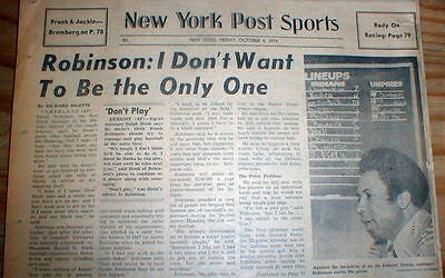 1974 newspaper FRANK ROBINSON is named 1st BLACK MANAGER of a ML BASEBALL TEAM