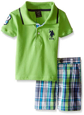 U.S. Polo Assn Infant Boys S/S Lime Green Polo 2pc Short Set Size 3/6M 6/9M $32
