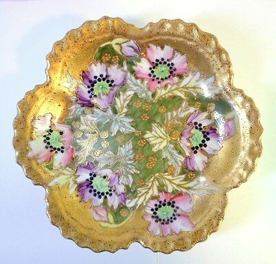 Vintage PINK & PURPLE POPPIES FOOTED PORCELAIN DISH Hand Painted Gold Encrusted