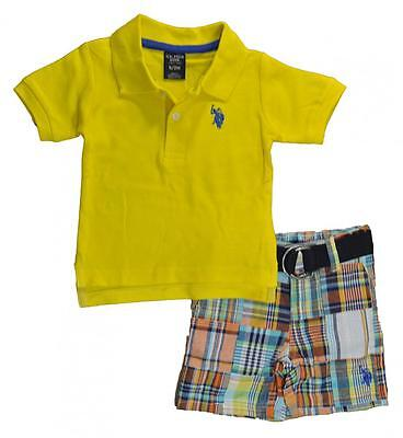 U.S. Polo Assn Infant Boys Yellow Polo 2pc Short Set Size 3/6M 6/9M $32