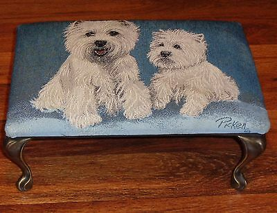 West Highland Terrier(Westie) Dog Tapestry Foot Stool-Just Displayed ,Never Used